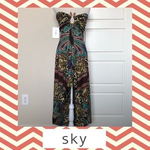 Sky Silk High Low Maxi Dress Strapless Size L